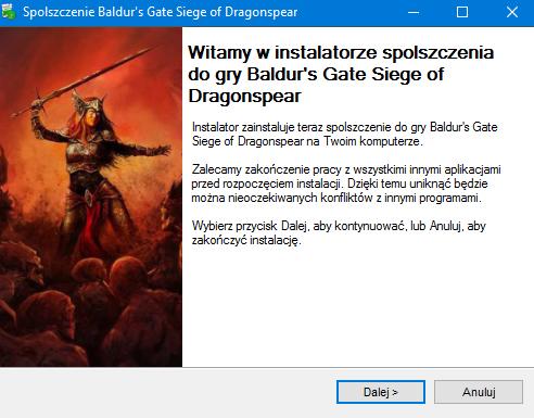 Baldur's Gate Siege of Dragonspear spolszczenie