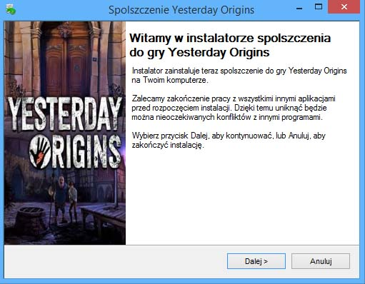 Yesterday Origins spolszczenie